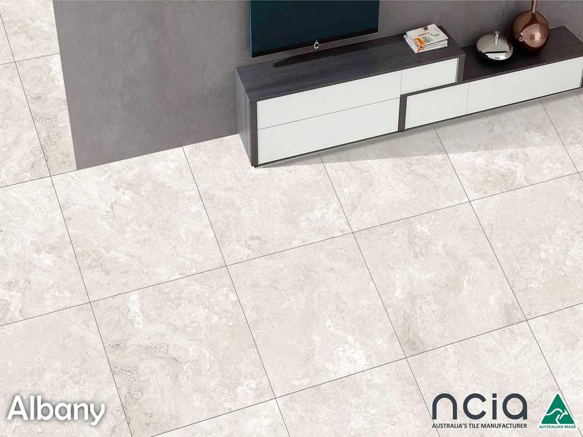 Albany Series - The Albany series is a soft and elegant crosscut travertine tile designed to replicate an authentic stone look using the latest digital ink jet technology. An affordable and low maintenance option.The range is available in 3 colourways – White; Cream and Grey – and in 2 finishes, Matt and External; 600 x 600mm, 300 x 600mm and the addition of 450 x 450mm later in 2018.