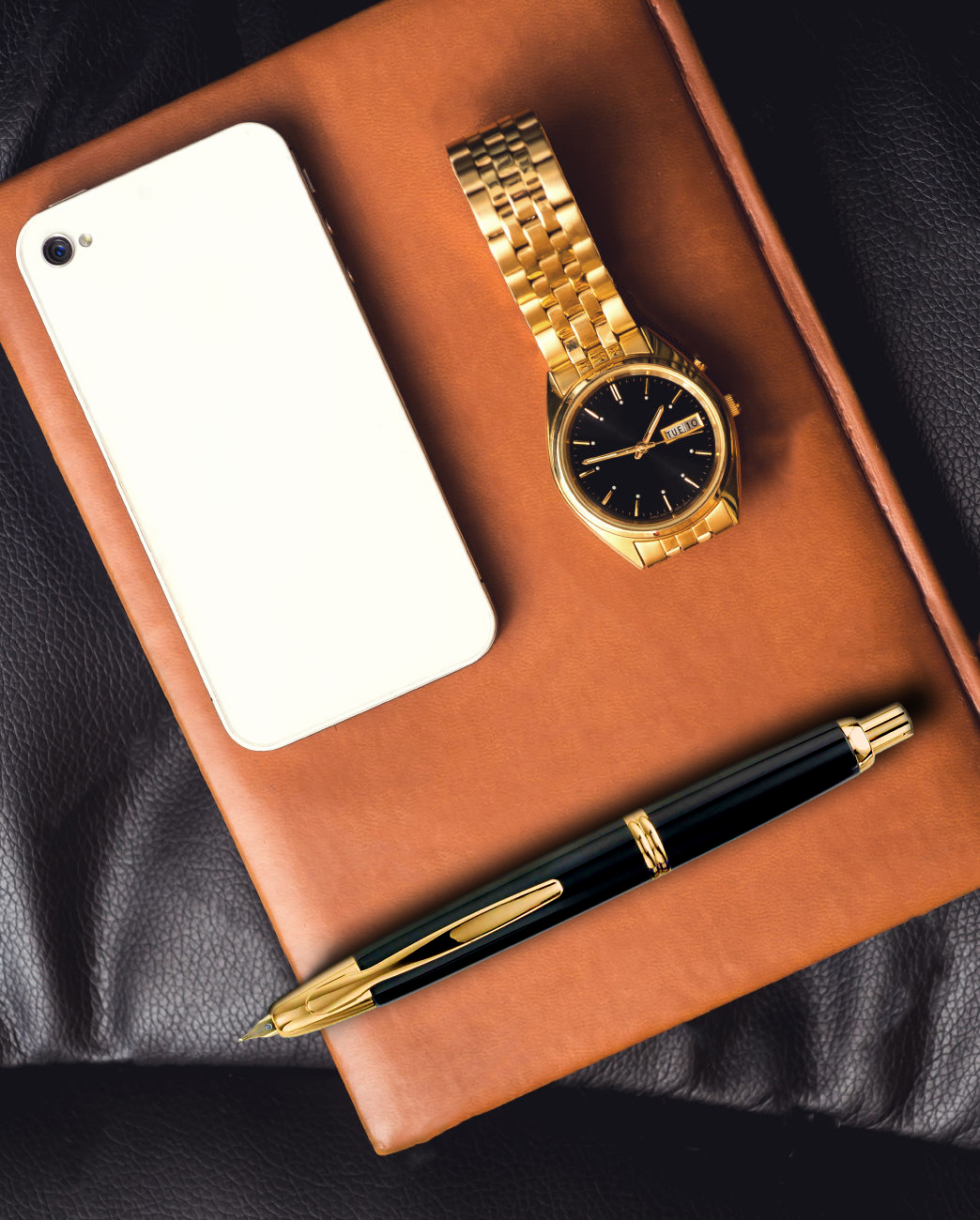 Capless Gold Flat Lay Gold and Brown book.jpg