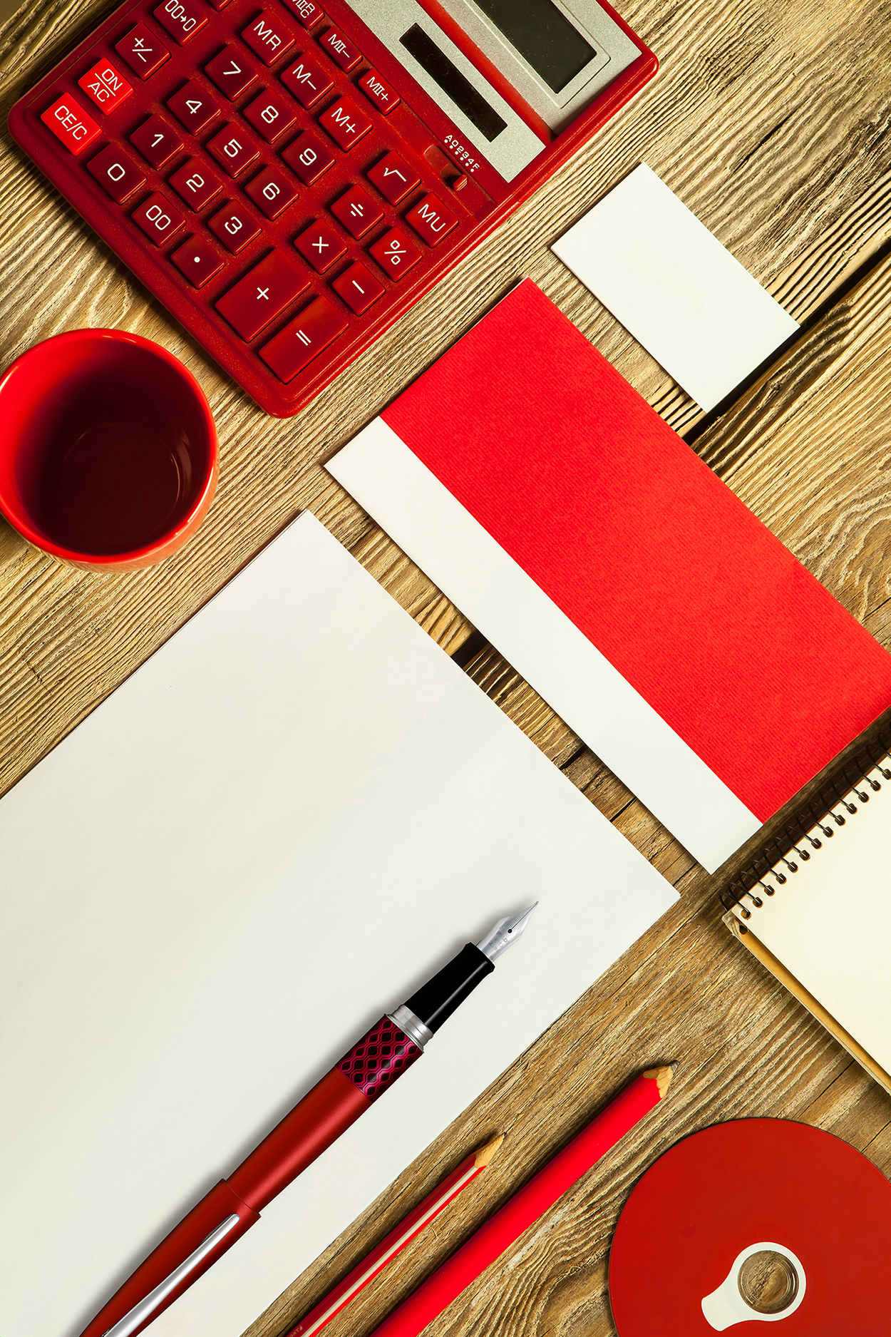 Pilot MR 3 Colourful Red Wave In situ Stationery Flat lay.jpg