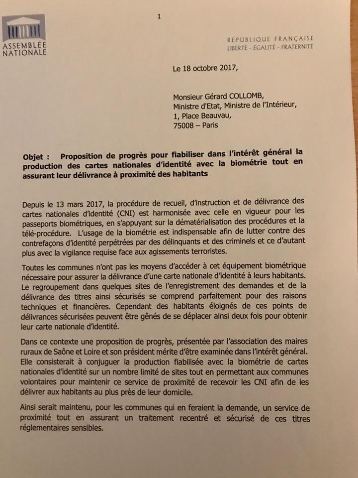 Benjamin Dirx courrier Ministre interieur carte identité 1.jpg