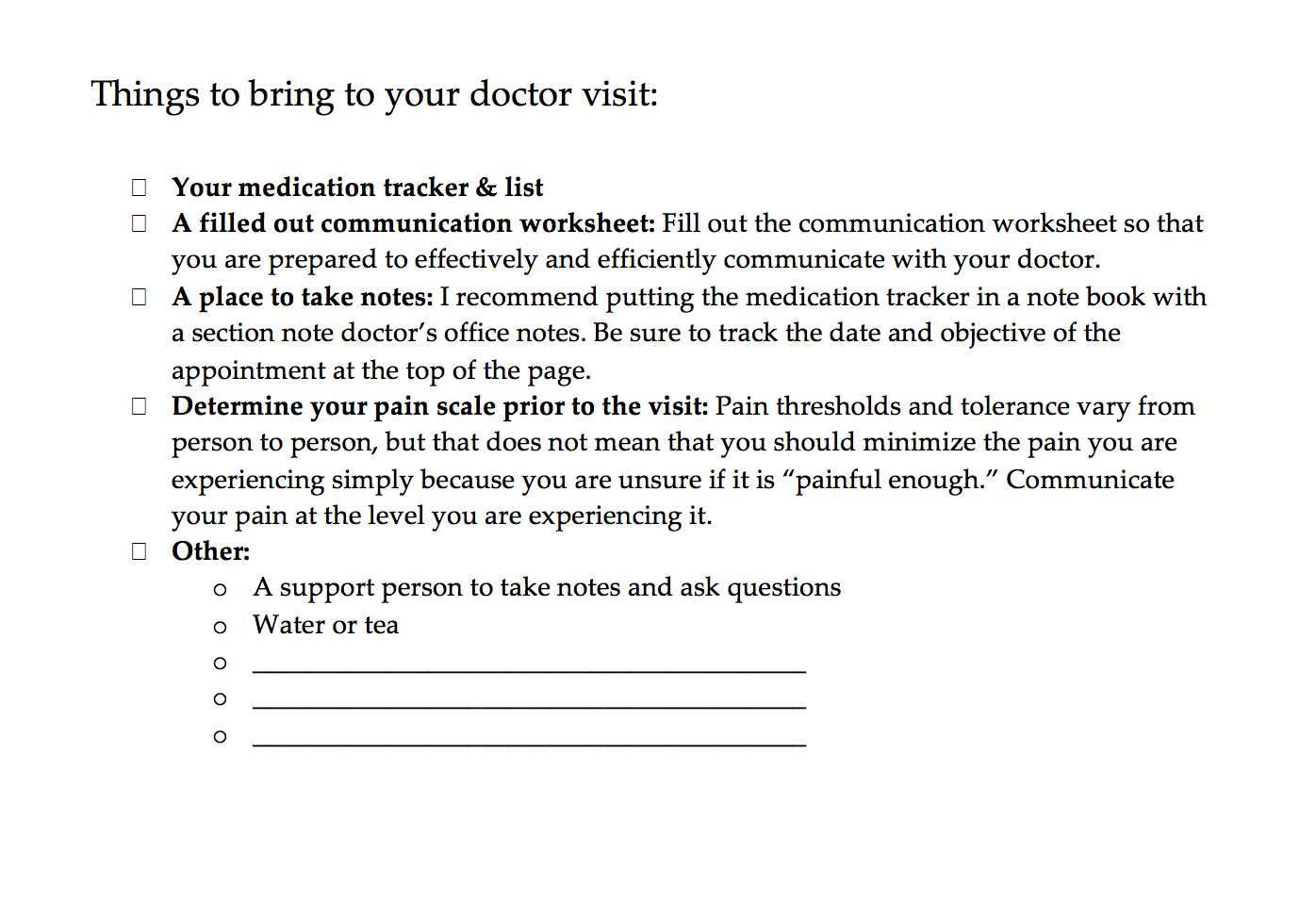 Appointment Checklist