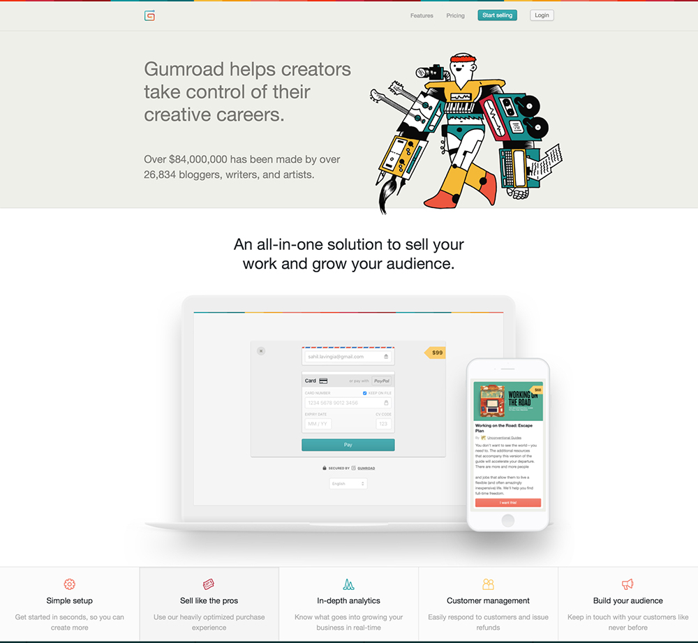 https://gumroad.com – sell music, comics, software, books, and films directly to your audience.