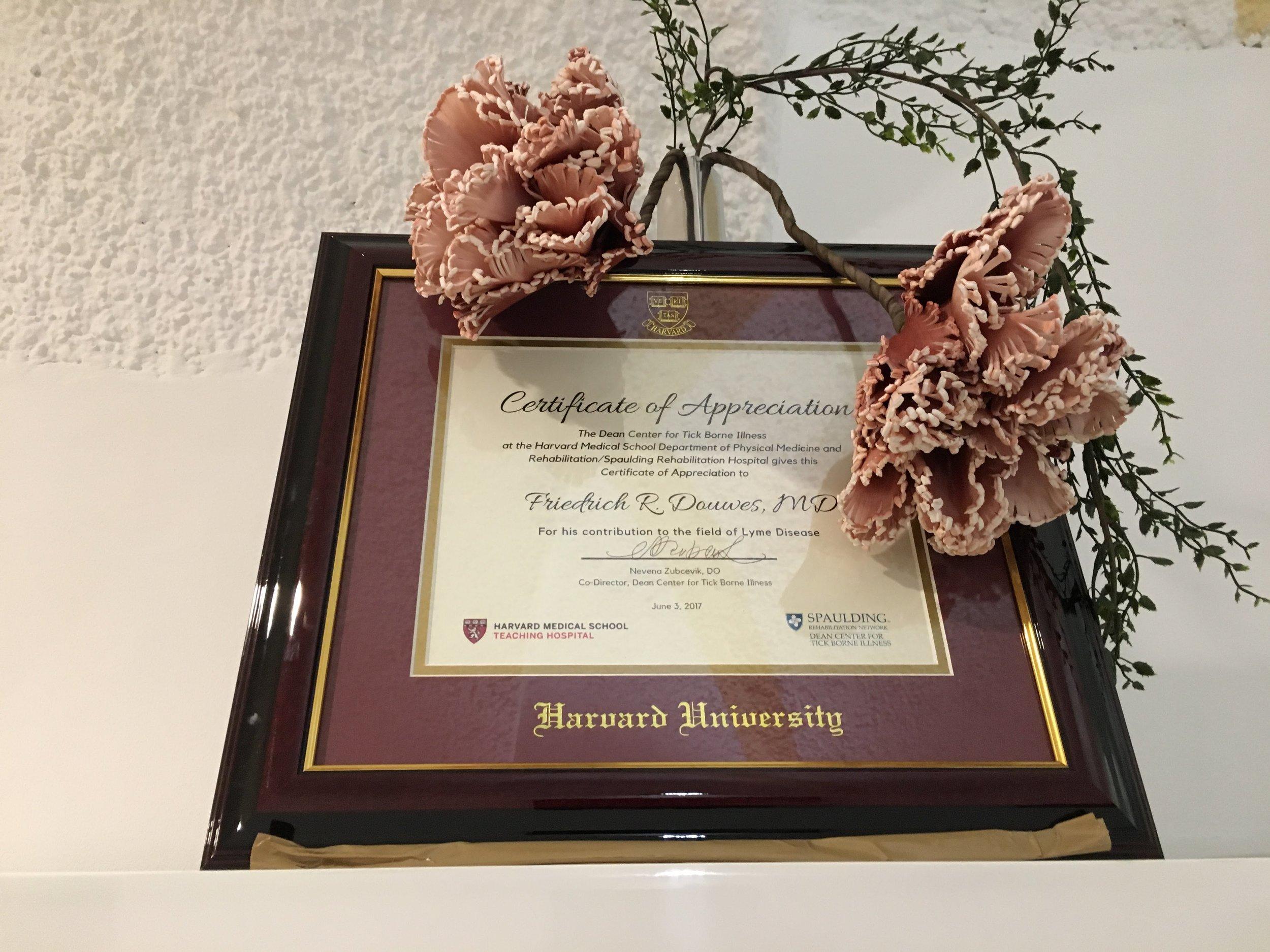 Dr. Friedrich Douwes' Award from Harvard University
