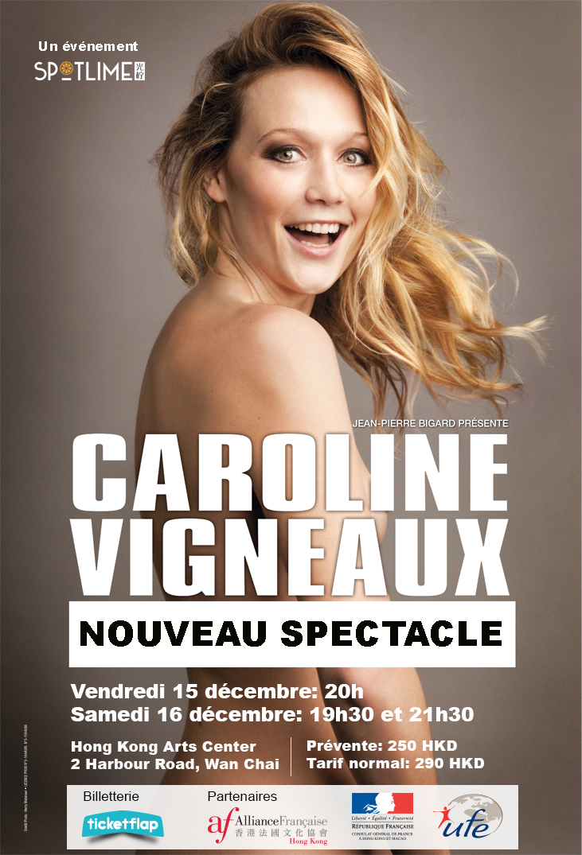 Caroline Vigneaux test son nouveau spectacle à Shanghai et Hong Kong en décembre 2017.