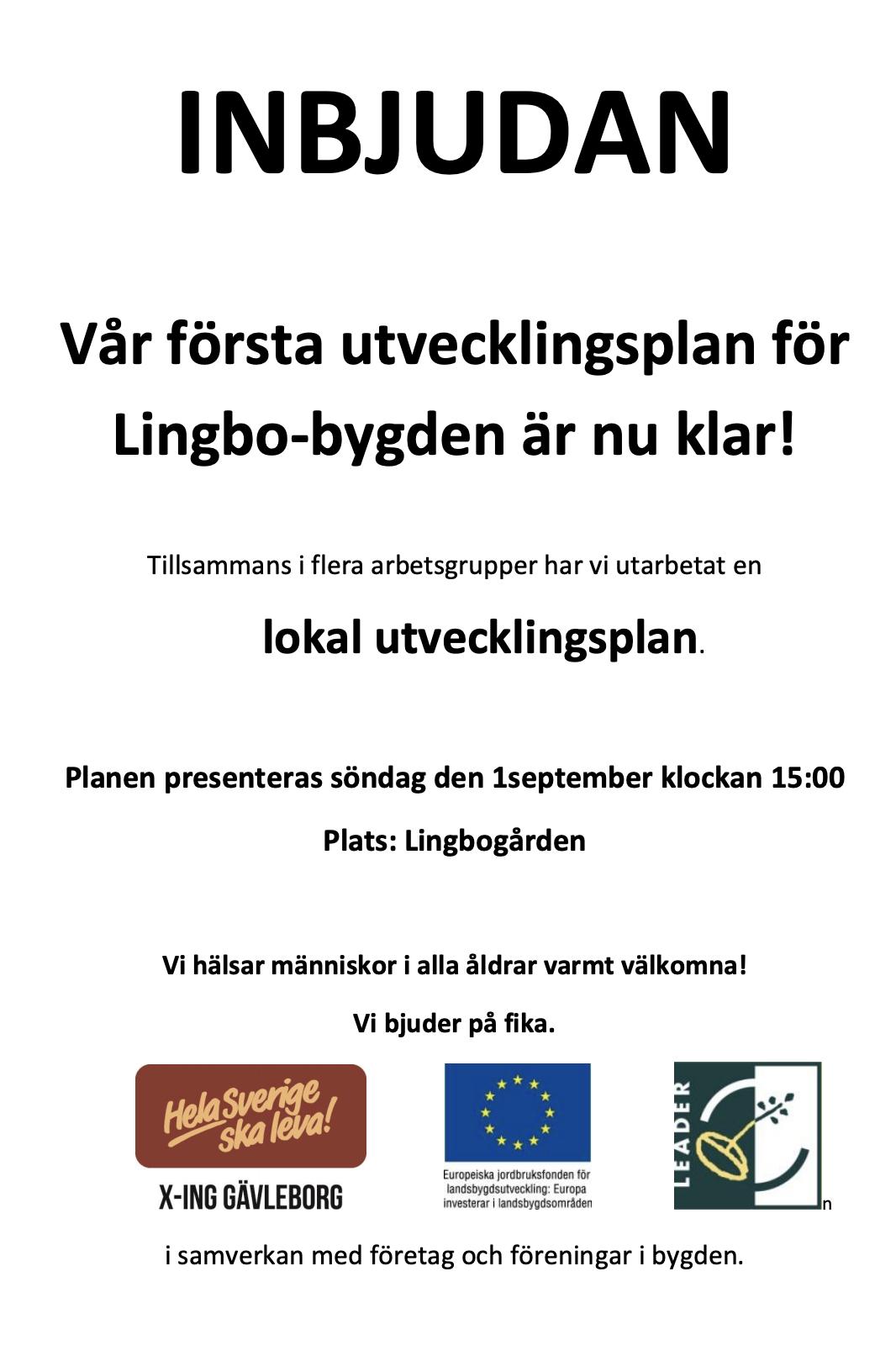 Inbjudan till lokal utvecklingsplan, söndagen den 1 september klockan 15.00 i Lingbogården
