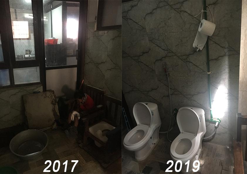 Evolution de la salle d'eau entre septembre 2017 et mars 2019