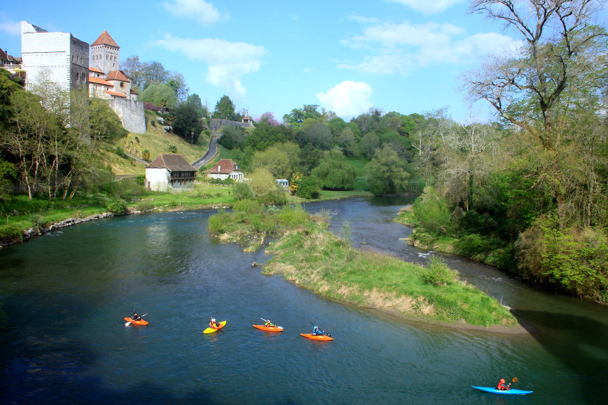 "Kayaking with local instructor at the river ""Gave d'Oloron"" in front of our terrace."