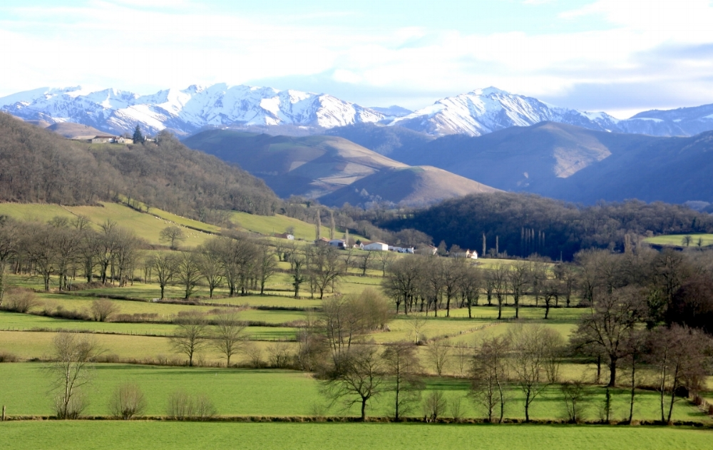 Neighbourhood with the view of Pyrenees
