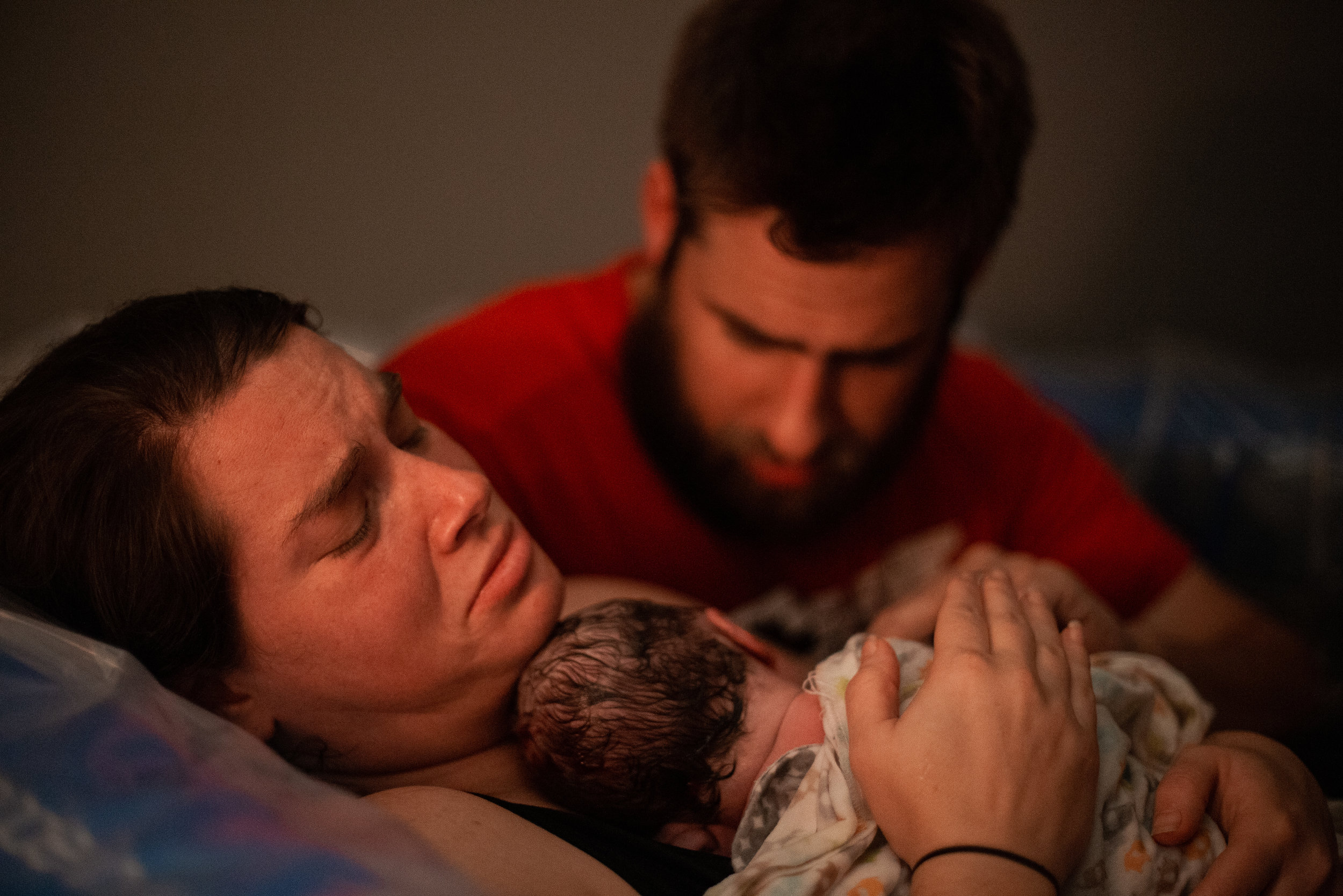 Parents with newborn baby.