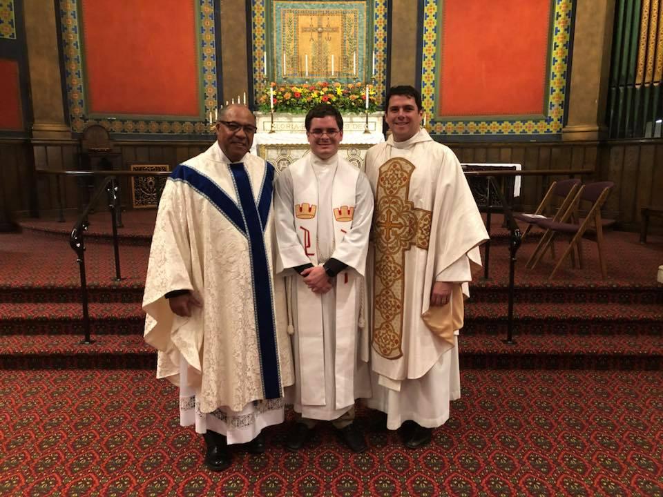 The Rev. Dr. Joseph A. Donnella II, pastor of St. Mark's, the Rev. Rob Lee, guest preacher; and the Rev. Grey Maggiano