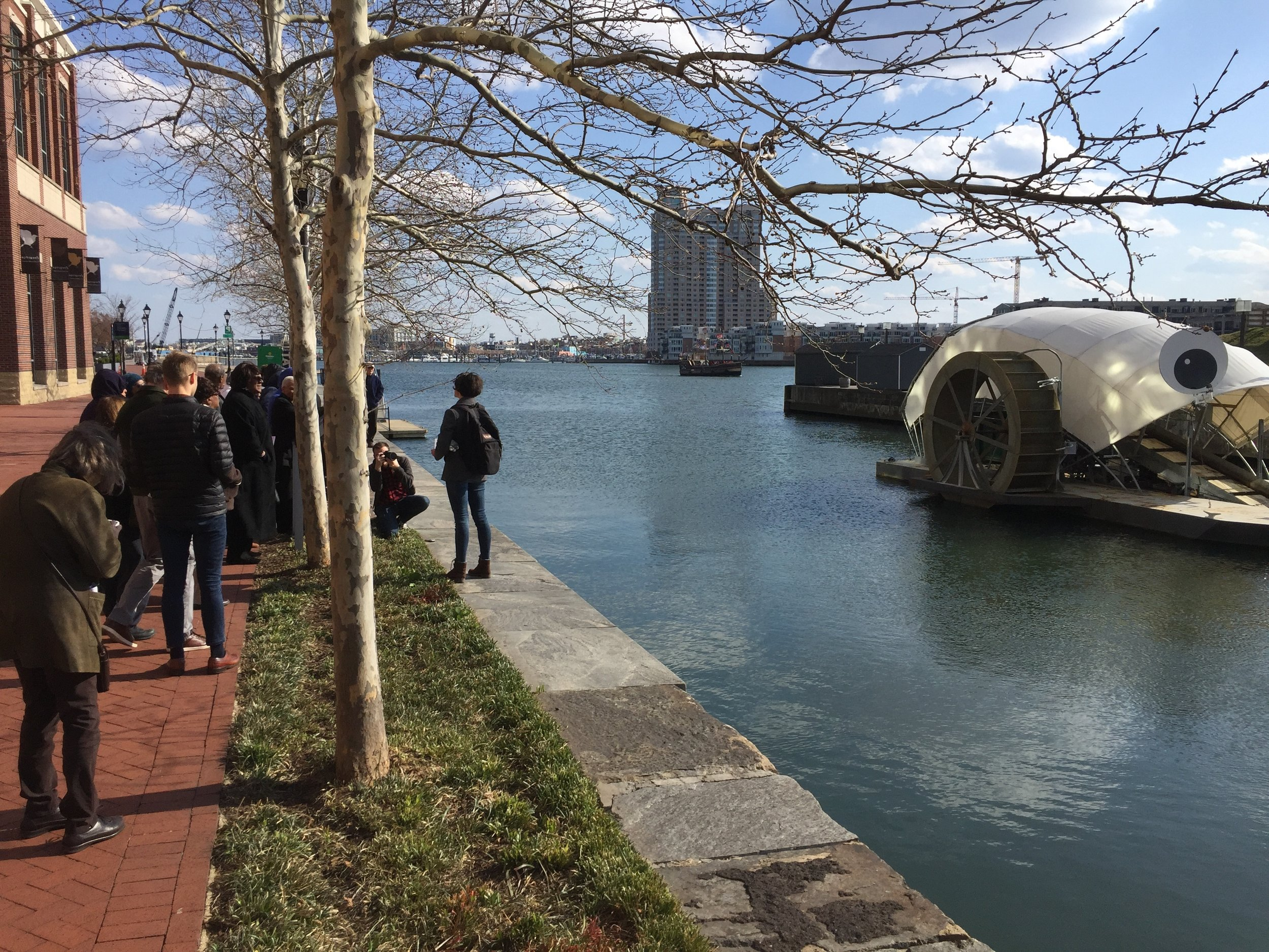 The Bus Tour ends at what is quite possibly Baltimore's most world-famous landmark - Mr. Trash Wheel. With his googly-eyes and his green mission, Mr. Trash Wheel has been featured in articles and lectures from Singapore to Sweden.