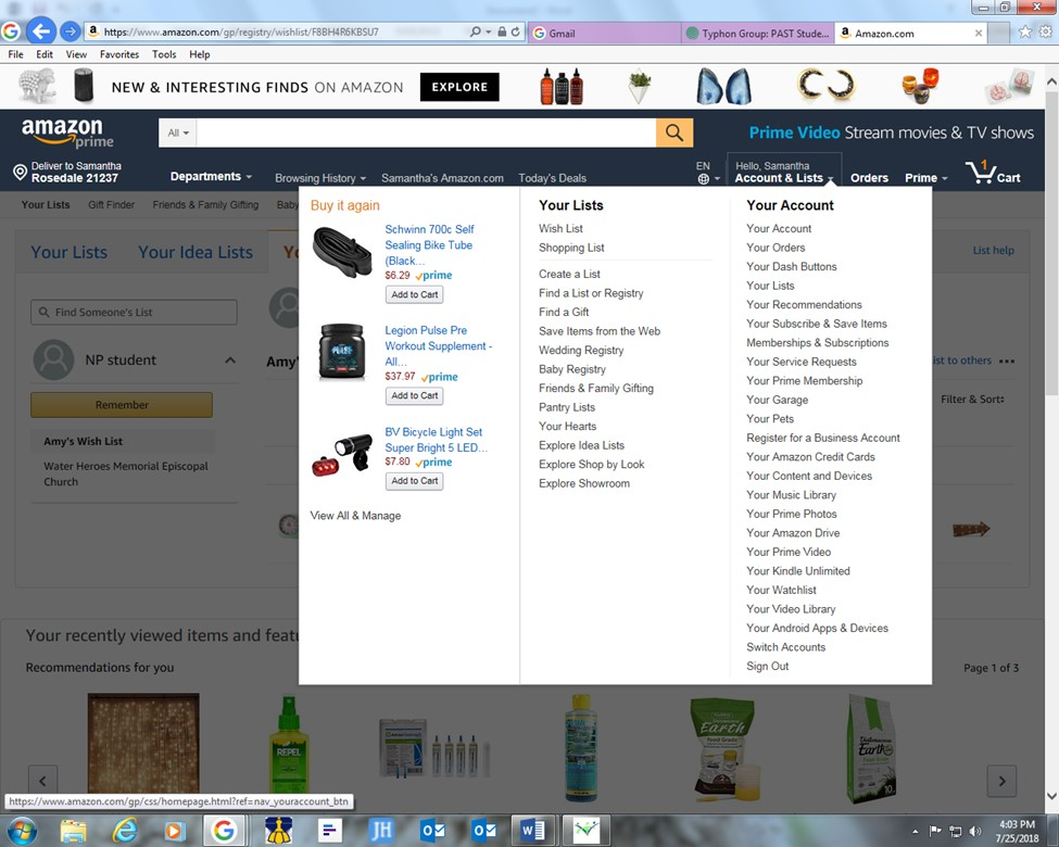 """Go to Amazon.com and search """"wish list for Amy Rial"""""""