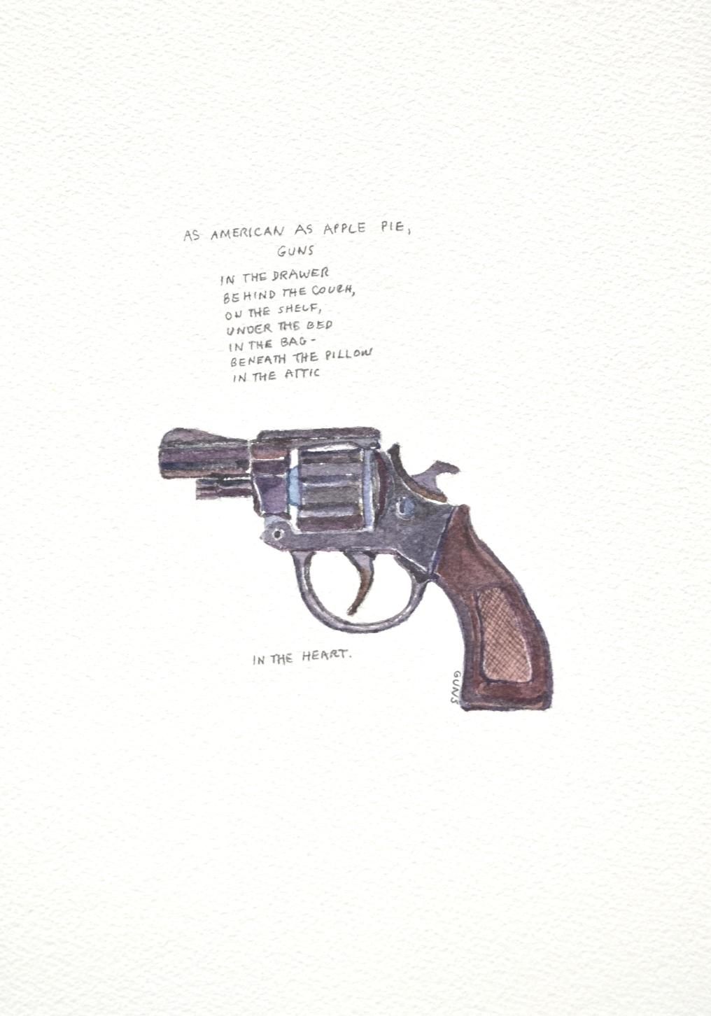 S. Sutro, Gun Series - As American as Apple Pie, watercolor+text, 15x11, 2014.JPG