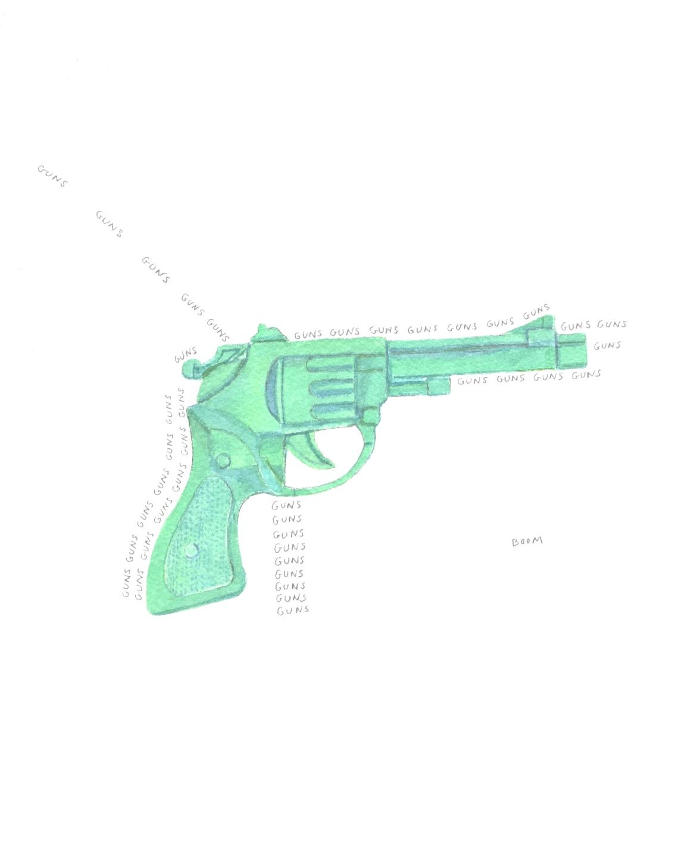 S. Sutro, Gun Series - Boom, watercolor+text, 15x11, 2014.JPG