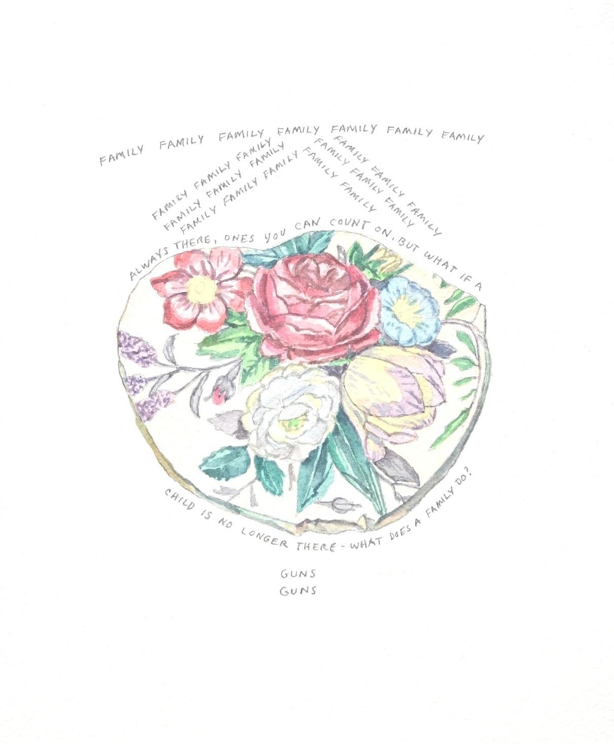 S. Sutro, Gun Series - Family, watercolor+text, 12x11, 2014.JPG