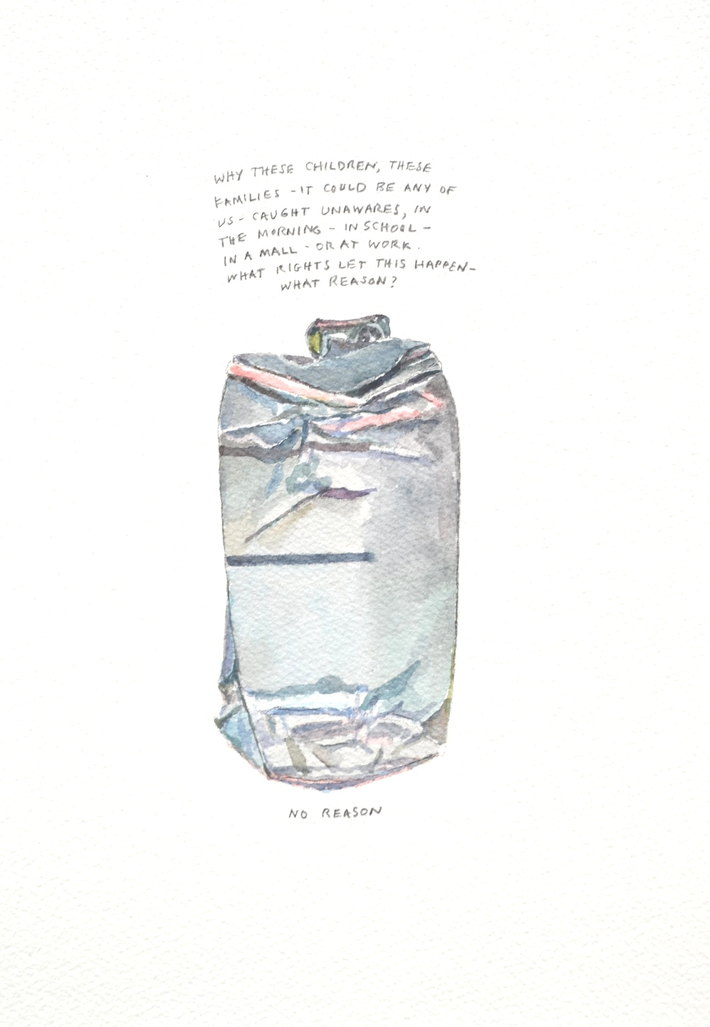 S. Sutro, Gun Series -No Reason, watercolor+text, 15x11, 2014.JPG