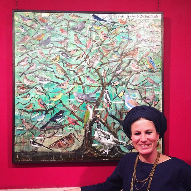 My beautifully talented friend @olivia_lomenech_gill with her spectacular Pocket Guide to British Birds (oil and metal collage on panel) at @abbottandholder gallery in London. She's doing a talk all about printmaking tomorrow at 12. If you're in London do go and see her. She'll be talking all about printmaking techniques and more.