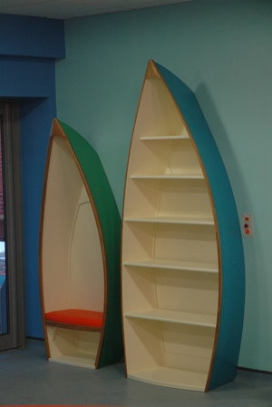 Boat Shaped Bookcase and Seat