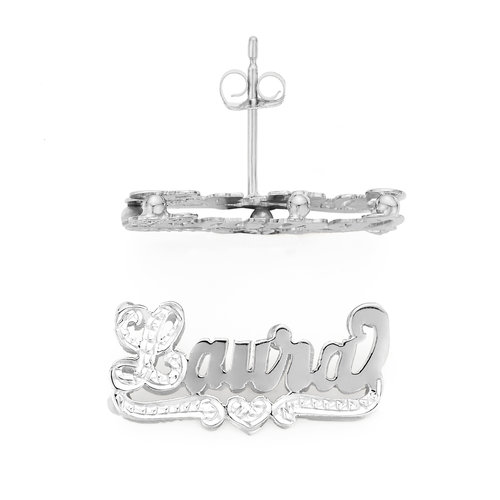 SNS807 Silver 1 Classic Modern Name Earrings