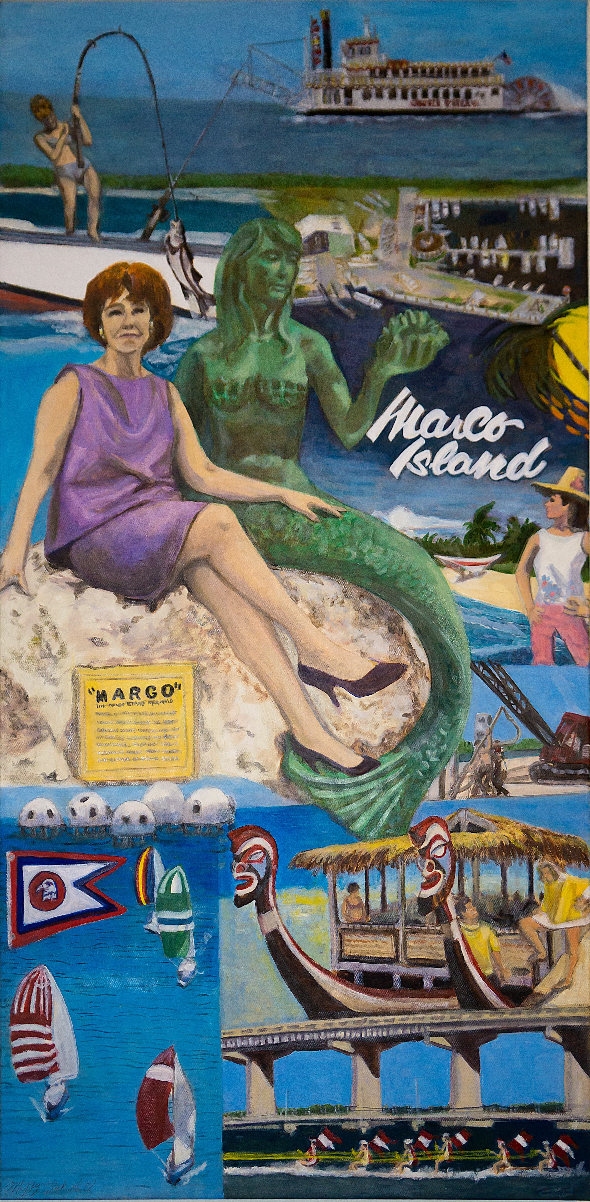 """Margo Meets Marco"" oil on linen 44 x 22 in  Marco Island (Florida) Historical Museum permanent collection"