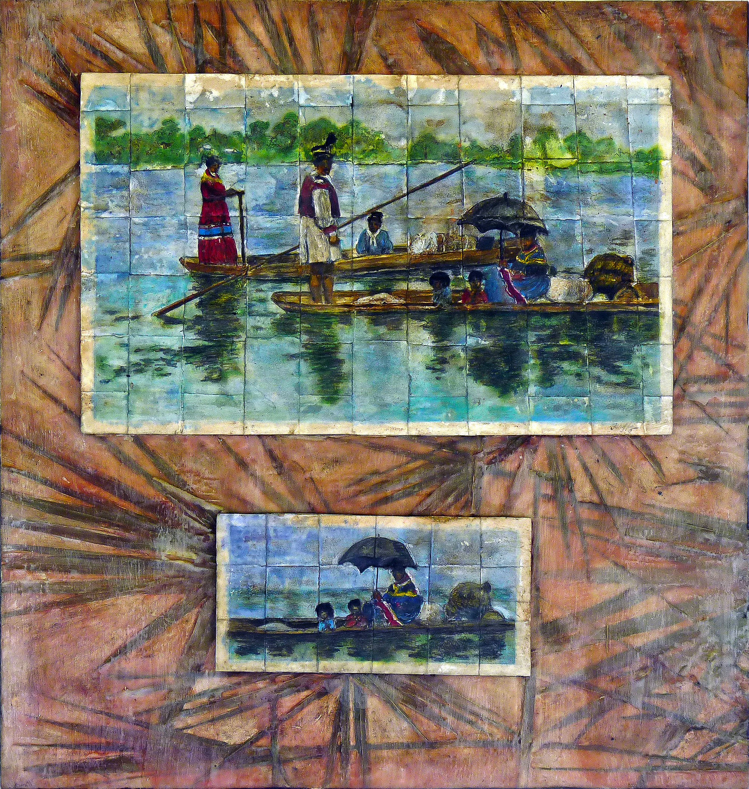 """Parasol""  batik and mixed media on wood   Florida Department of State  permanent loan"