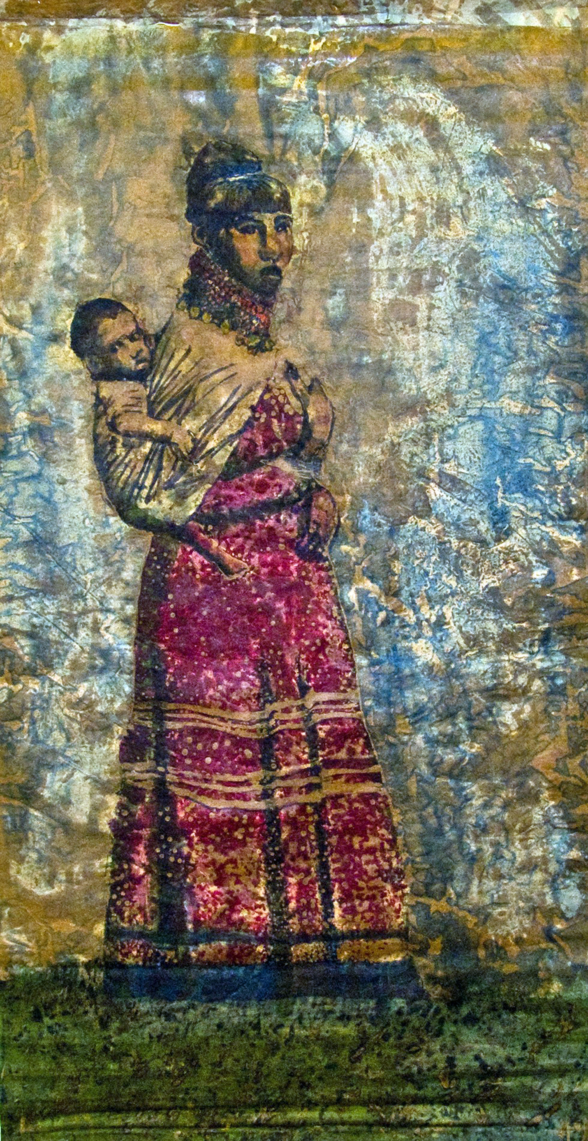 """Seminole Spirit Woman and Child""   batik and mixed media  Collection of the South Florida University Museum of Art and Culture"