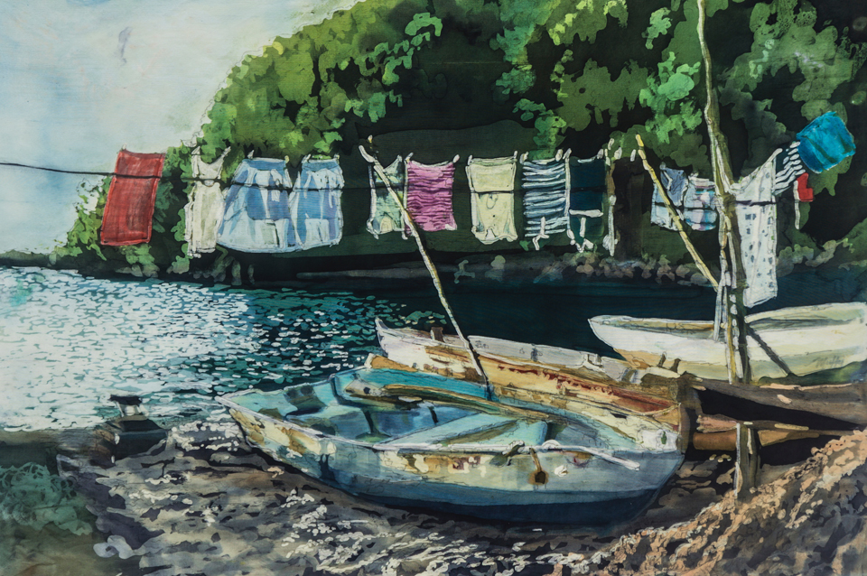 """Wash Day: St. Lucia"" Rozome on silk 20 x 30 in   October 2, 2019-January 30, 2020   MS Conceptions    National Association of Women Artists-Florida Chapter   Panel discussion and awards presentation: January 9, 2020, 3:00-6:00 pm   Marco Island Historical Museum & Gallery   180 S. Heathwood Drive  Marco Island, FL 34145  (239) 252-1440    November 1-December 19, 2019   Clotheslined— Paintings from the Wash Day and Shibuya Series   Opening Reception and Talk Wednesday, November 6, 5:30-7:30 PM  United Arts Center of Collier County Gallery  953 4th Avenue North  Naples, FL 34102  (239)254-8242    Now through December 31, 2019   Selections from The ""Agua"" Series    Woodward, Pires & Lombardo, P.A.   Naples Office 3200 Tamiami Trail N., Suite 200 Naples, Florida 34103  Marco Island Office 606 Bald Eagle Drive, Suite 500 Marco Island, FL 34145  Mon.-Fri. 9 AM-5 PM  (239) 649-6555    January 10-February 1, 2020   Reveries of A Tropical Heart-Muffy Clark Gill and Jeff Ripple   Opening Reception:January 10, 5-7:00 PM   Lee County Alliance of the Arts   10091 McGregor Blvd.  Ft. Myers, FL 33919  (239) 939-2787"
