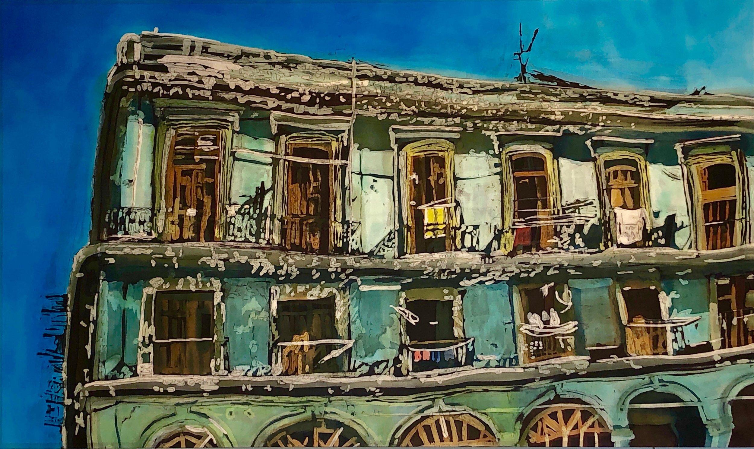 """Muffy Clark Gill  """"Wash Day: Havana Balconies"""""""