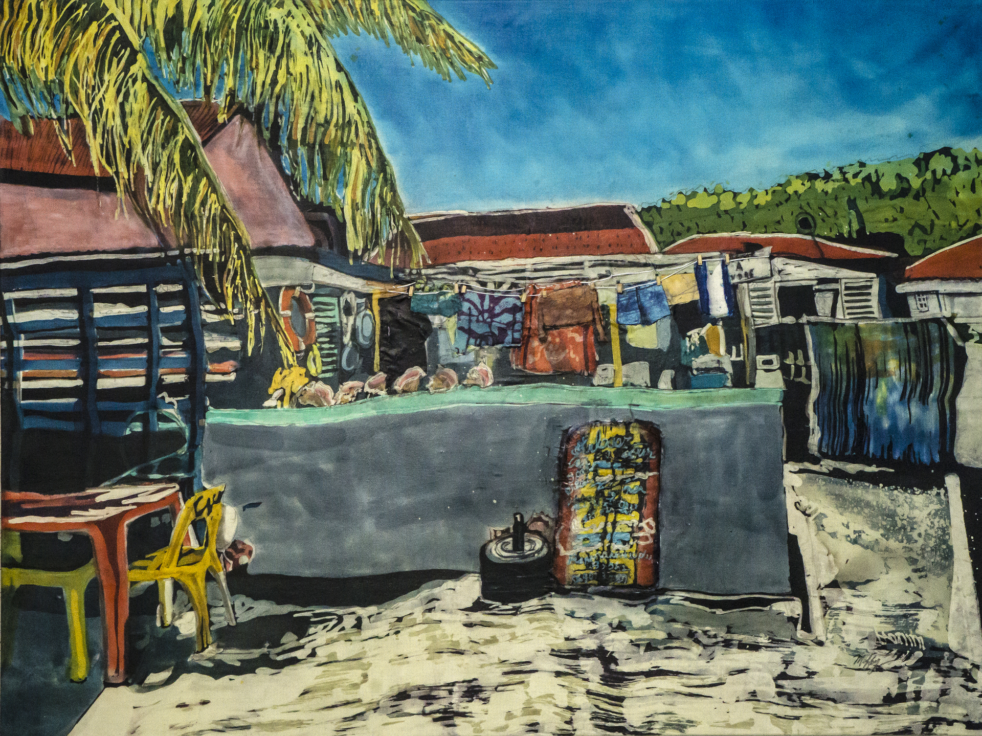 "Muffy Clark Gill ""Wash Day! Isles des Saintes"" rozome on silk 30 x 40 in $2800"