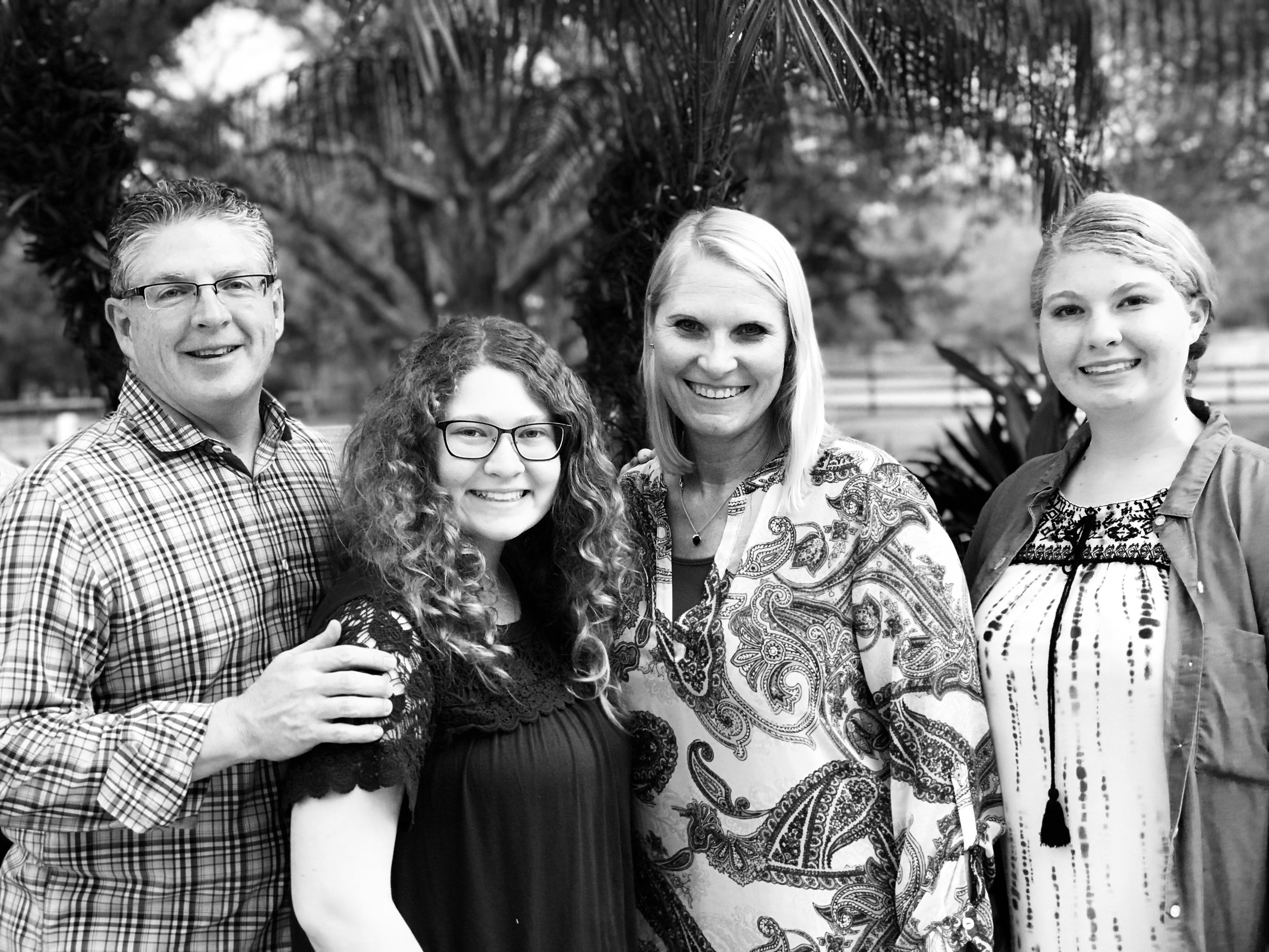 My beautiful partner Sandy, with her husband Paul, daughters Marissa, and Emma.