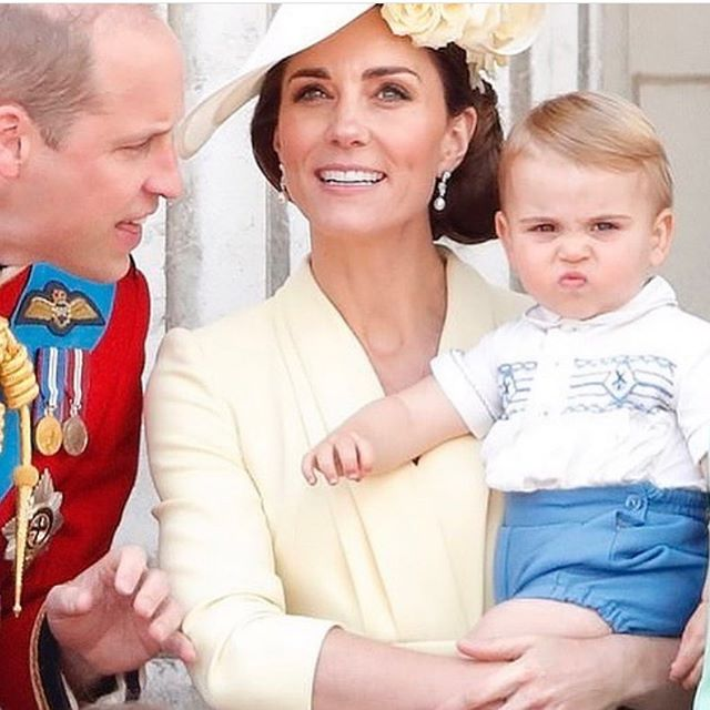 One is not amused 😂😂have to laugh at Louis! We all know there are no secrets when it comes to little ones! They say it how it is. Absolutely adore Kate's look, the lemon, pearls and roses together are just so feminine and soft. She's the ultimate Princess 👸� 🥰xx #queenkate #princelouis #stylequeen