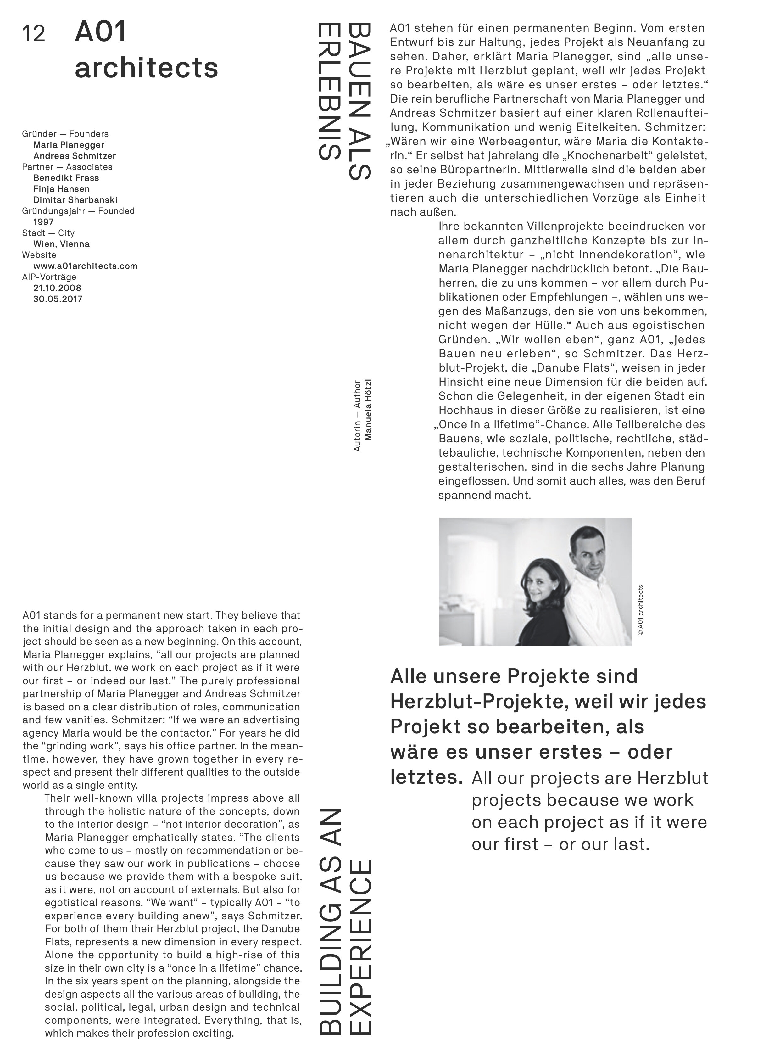 The 'Herzblut' of A01architects - Book published by architecture in progress