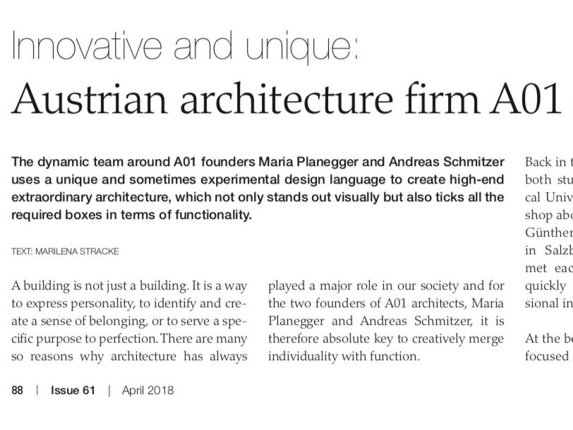 Made to measure suits - Feature in series Austrian architects in Discover Germany, Switzerland and Austria