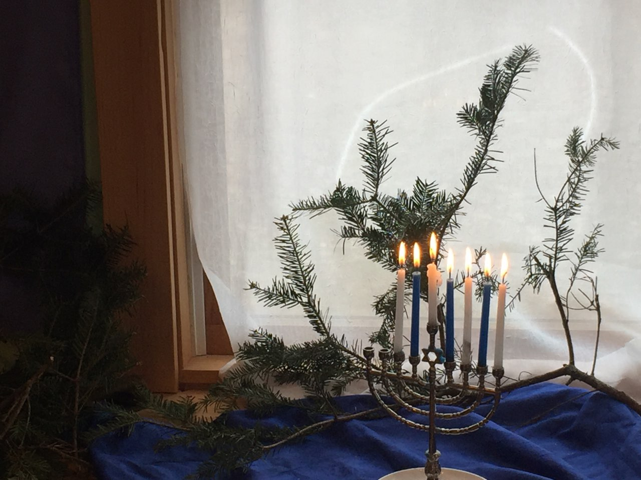 """On Hanukkah, the first dark night, light yourself a candle bright. I'll you, if you will me invite, to dance within that gentle light."" — Nicholas Gordon"