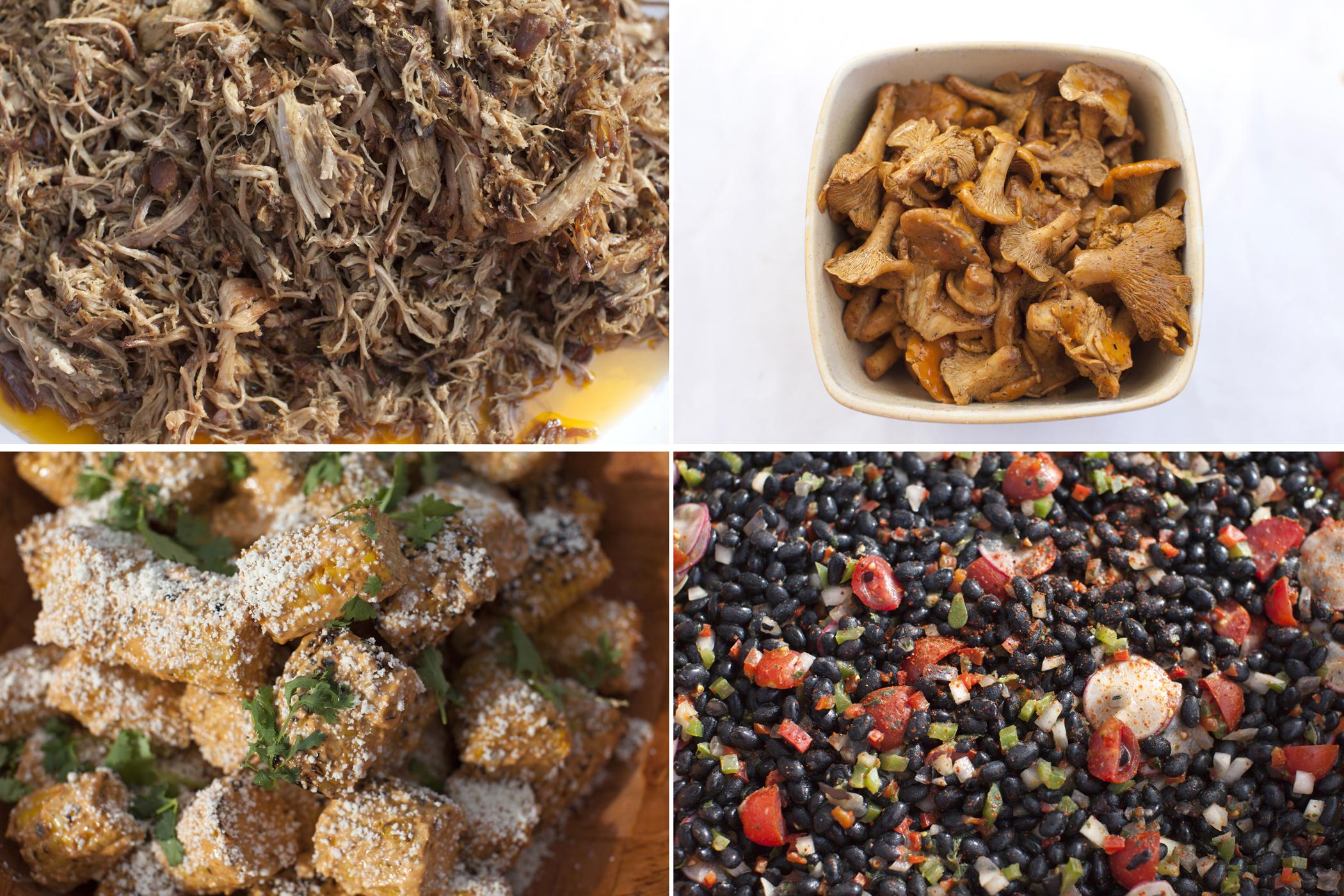 food photography beans, mushrooms, pork