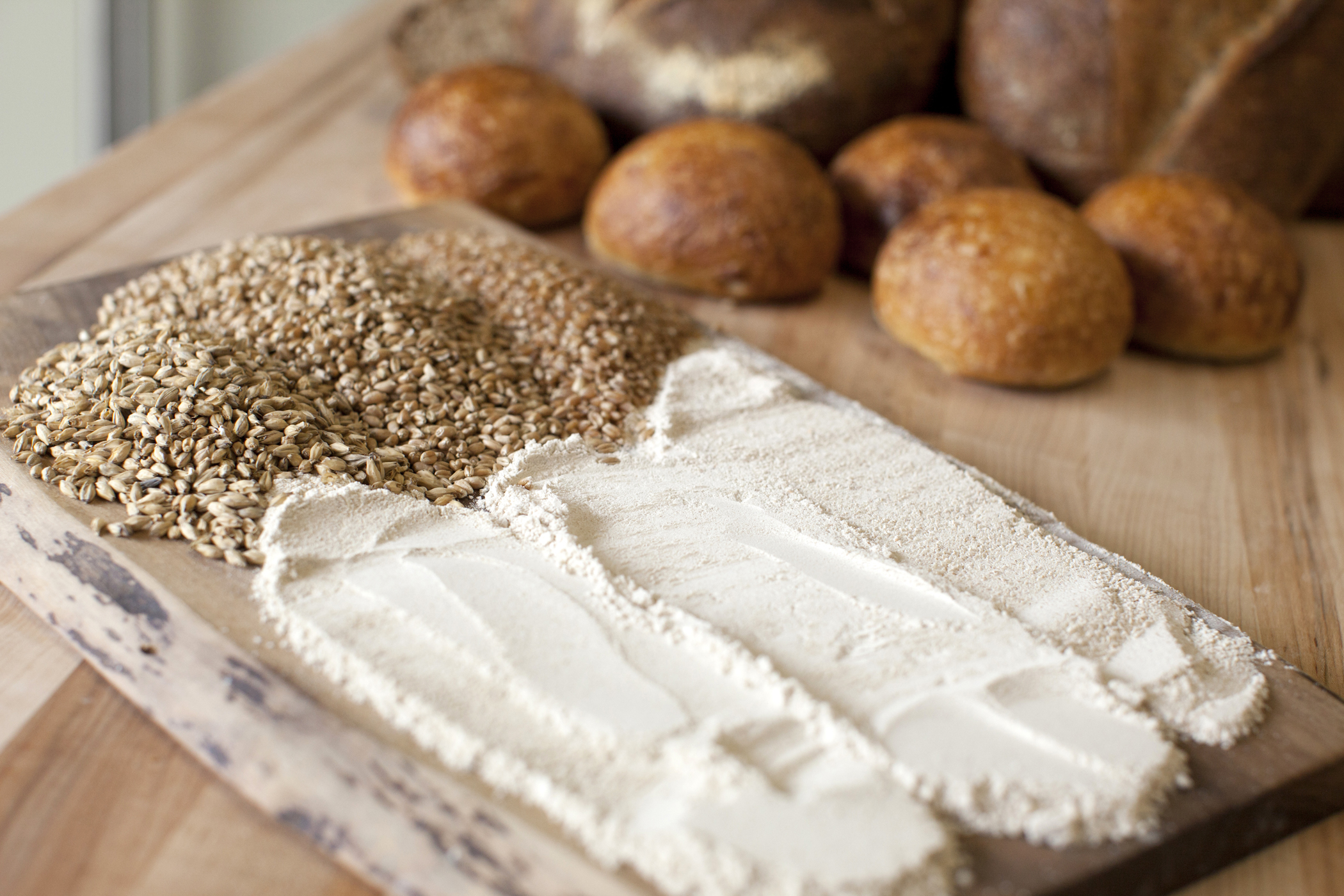 food photography of flour, grain and bread food building