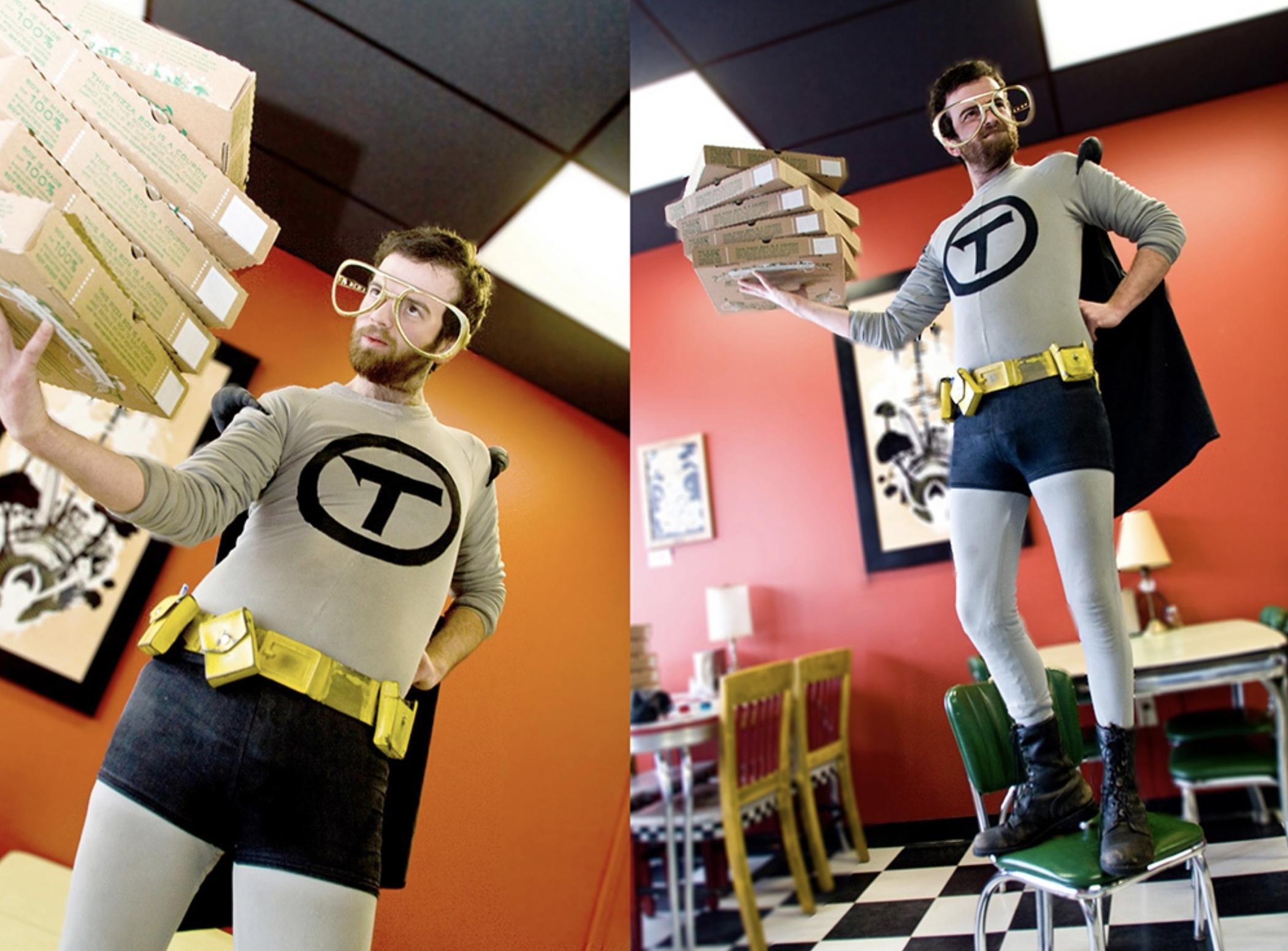 editorial photography galactic pizza superhero