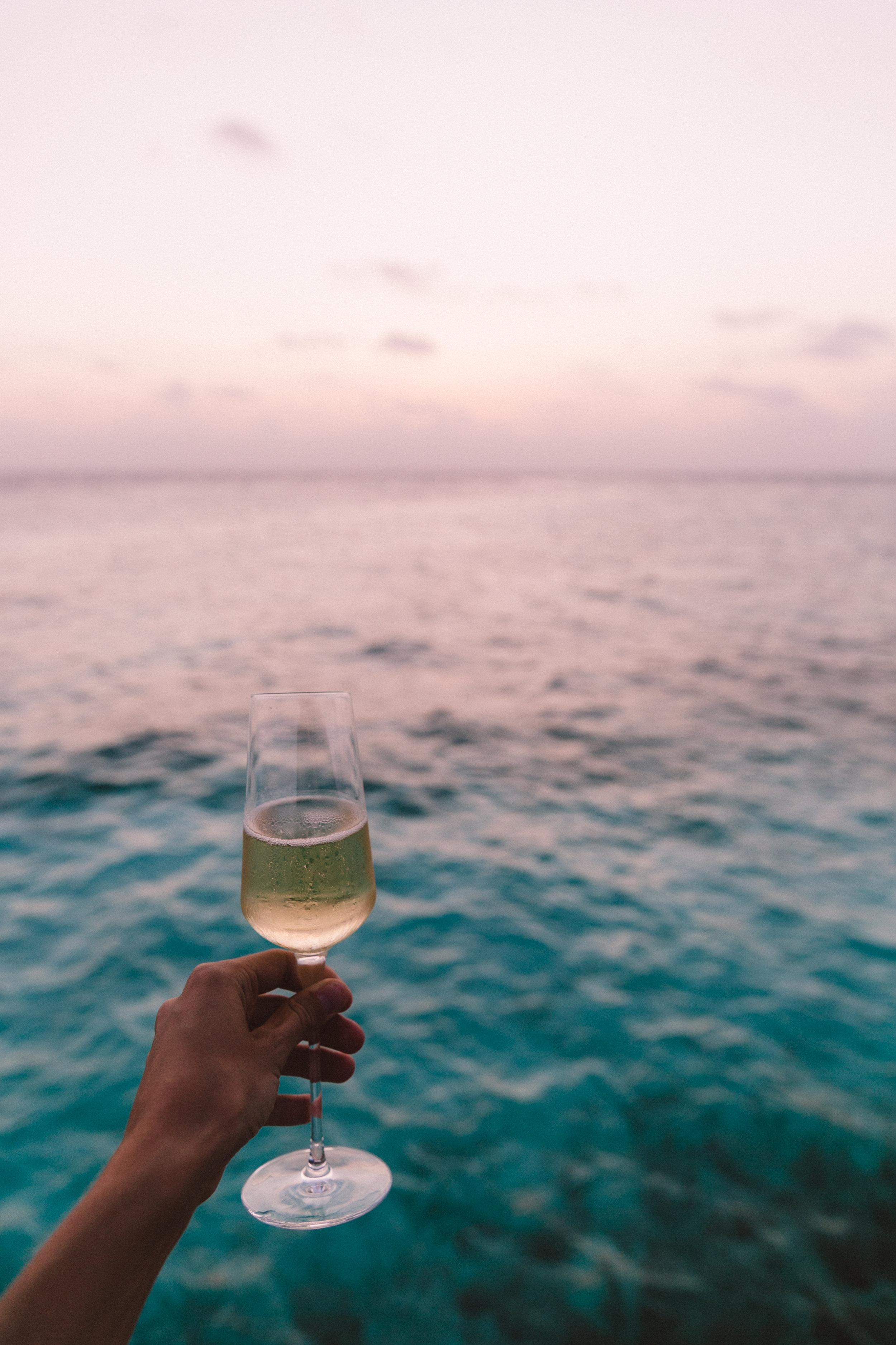 Sunset at the champange bar