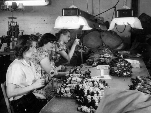Employees work on the cutting table at Marr Knitting Mill, the predecessor to Fox River Mills in Osage, Iowa.  Contributed photo/Courtesy of the Mitchell County Historical Museum