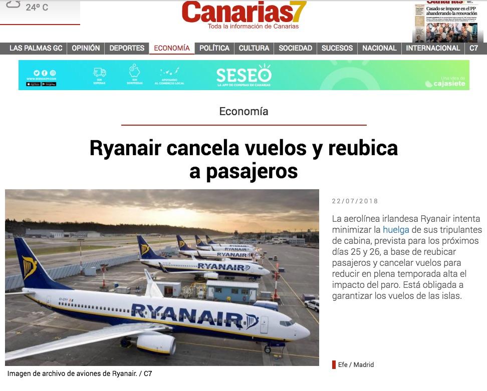 Noticia sobre cancelación de vuelos de Ryanair en canarias7.es