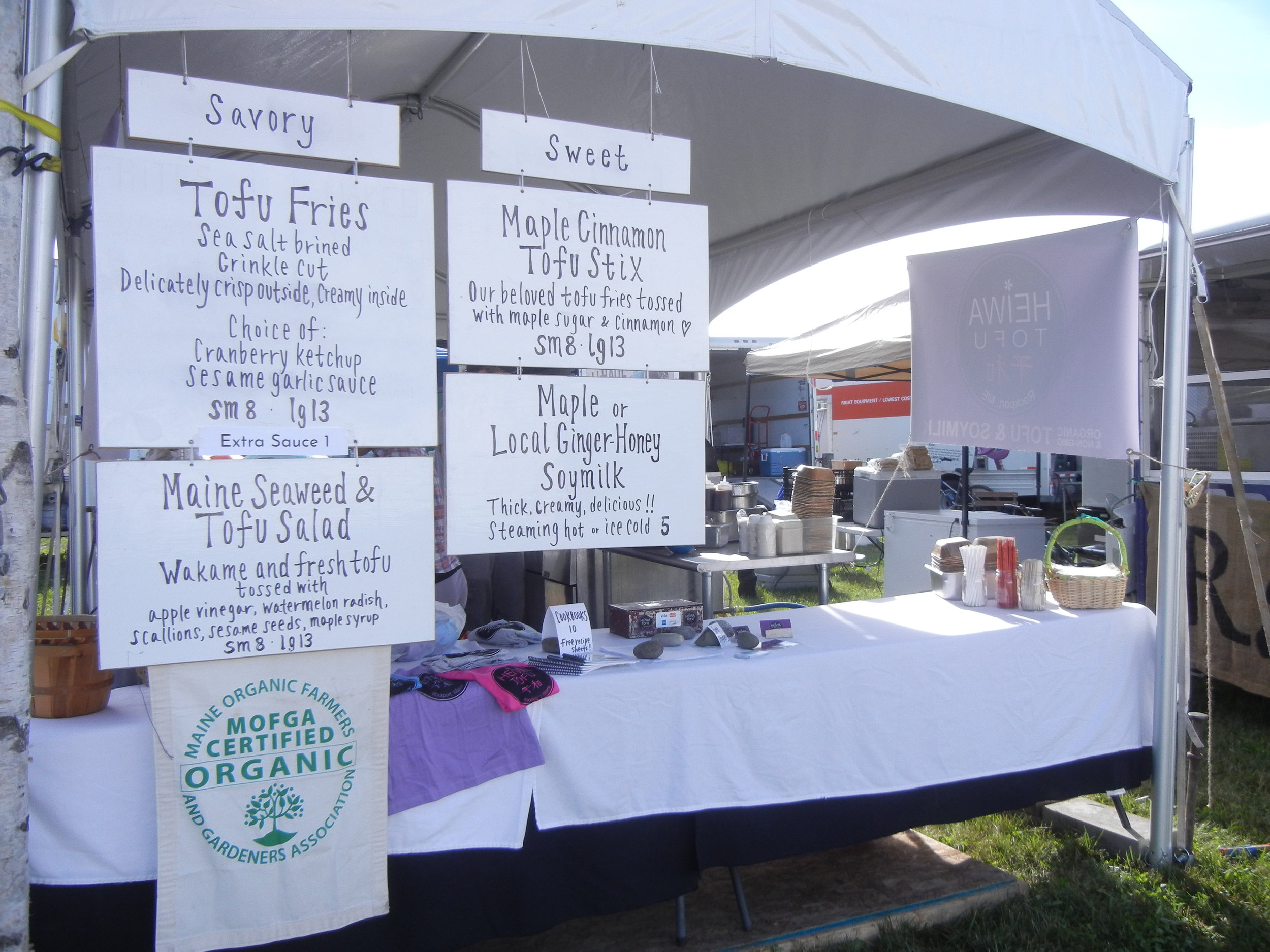 Our booth at the Common Ground Country Fair from 2017.