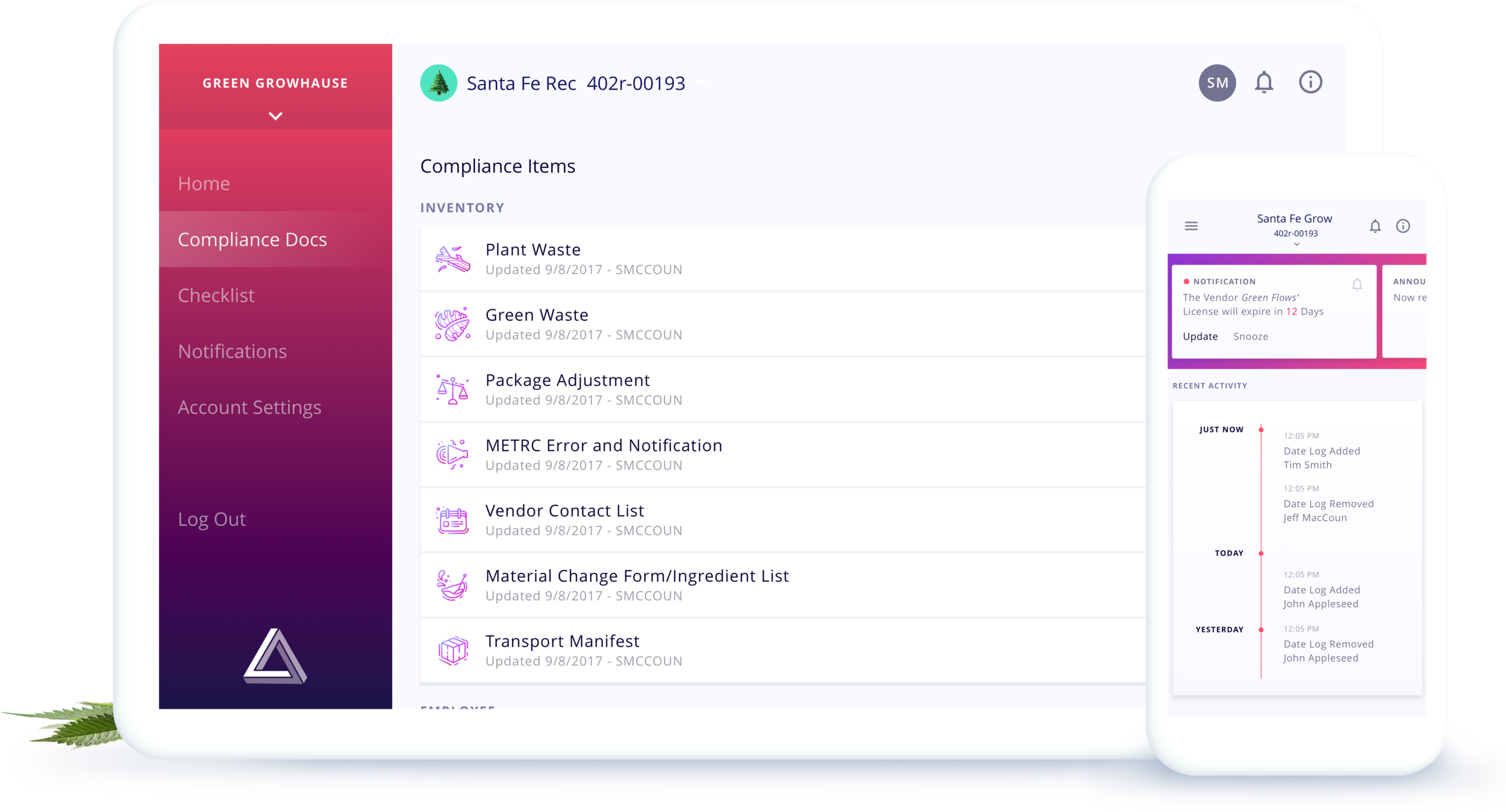 This is an image of Azara as a product. Both a web view and a mobile app. Azara is designed to organize compliance logs.