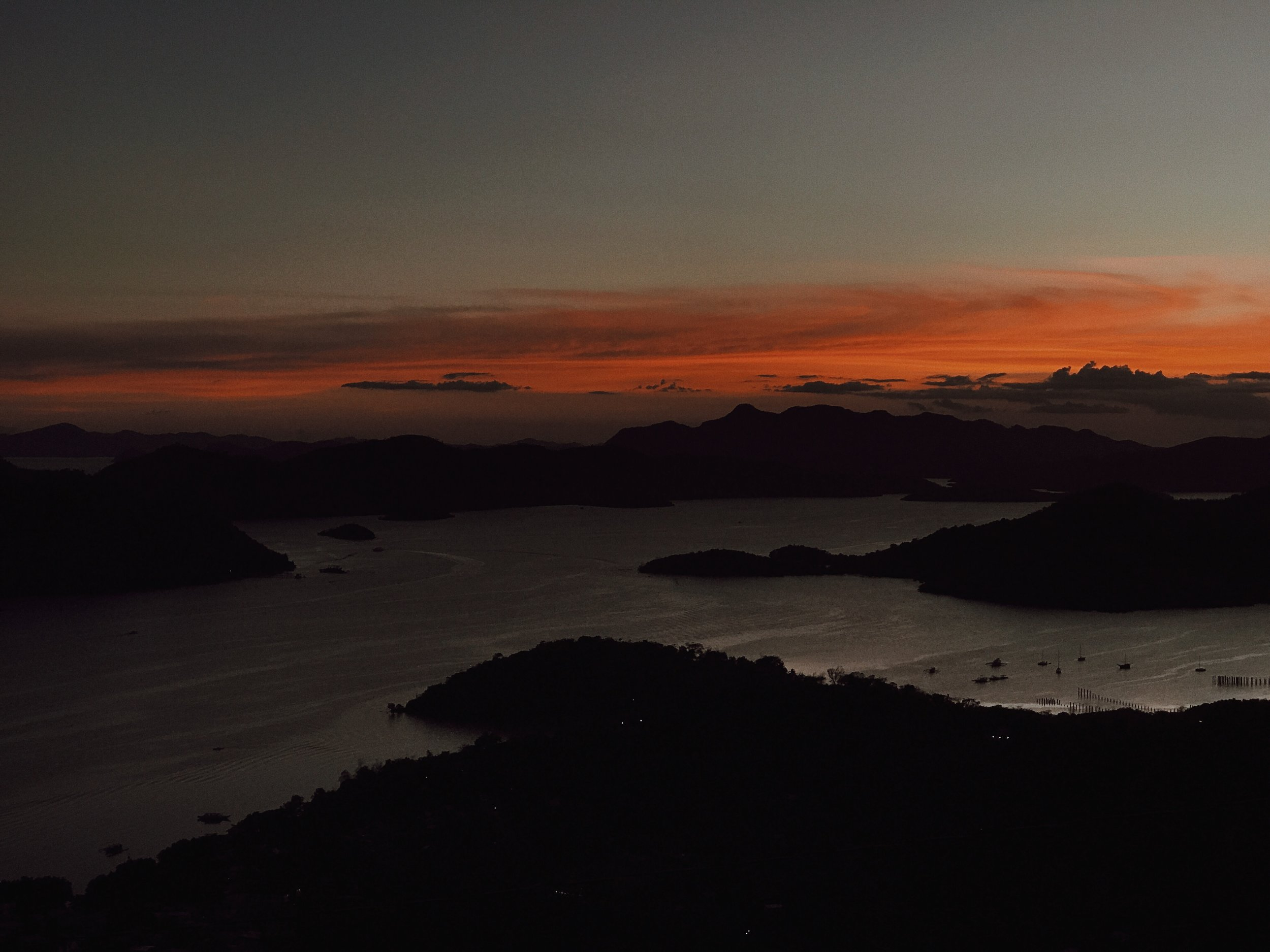 View of the sunset after climbing Mt. Tapyas in Coron, Palawan, The Philippines
