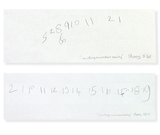 Numbers before and after session