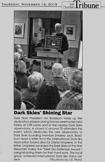 The SJO dedication story in the  Wet Mountain Tribune in the November 19, 2015 edition.