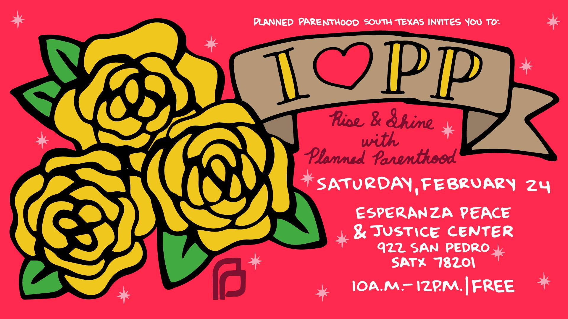 """Last year, you pushed back against anti-choice protestors at the """"I Stand with PP"""" rally in February. This year we're inviting you to once again show your love for Planned Parenthood at a rise & shine event on Saturday, Feb 24 at the Esperanza Peace & Justice Center.  It'll be a morning of poster-making, t-shirt screening, and fun activities the entire family can enjoy (yay!)  We'll be making posters/signs for the International Women's Day March (happening the following Saturday on March 3); writing thank you letters to PP staff; writing postcards to our elected officials supporting PP; and Mujeres Marcharan will be onsite screening t-shirts (must bring your own shirt). And of course, learn about our wonderful volunteer opportunities and how you can get involved with Planned Parenthood.   We'll also be giving away some swanky PP swag!   Event is FREE! Join us!"""