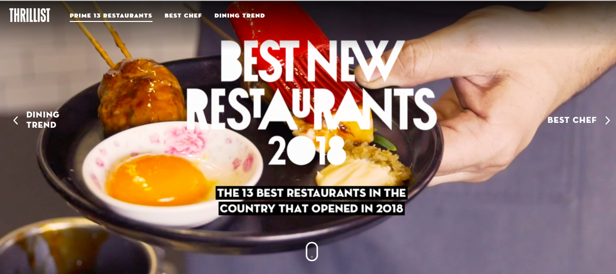 BEST NEW RESTAURANTS 2018 - THRILLIST PRIME 13