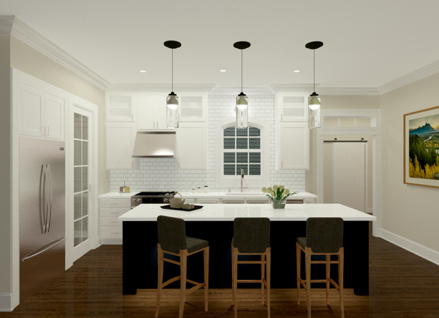 A 3-D rendering of the kitchen