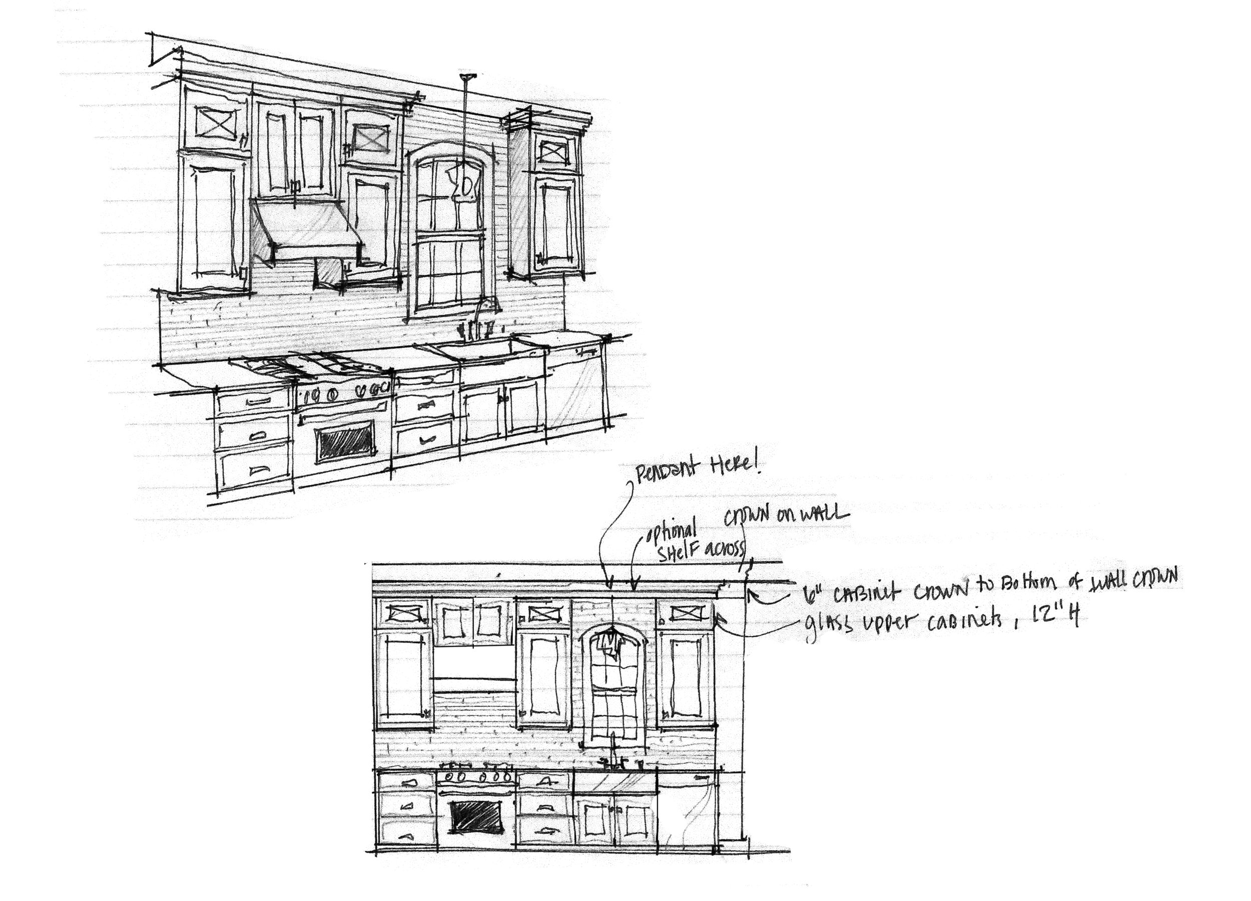 A 3-D sketch and an elevation drawing
