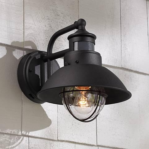 Fallbrook Black Dusk to Dawn Motion Sensor Outdoor Light